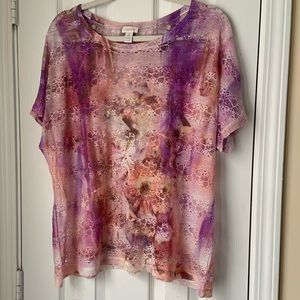 Chico's Soft tie dye floral lace short sleeve top